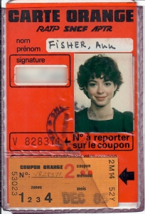 My Carte Orange from Paris in 1985
