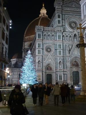 The Christmas tree in front of Santa Maria del Fiore