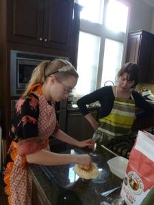 Teaching Catherine to make pasta