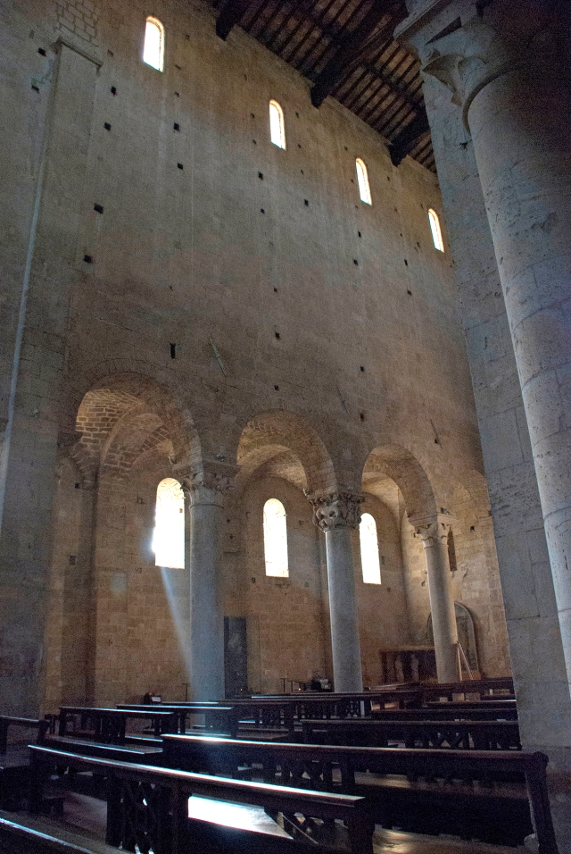 The interior of the Abbey of Sant'Antimo