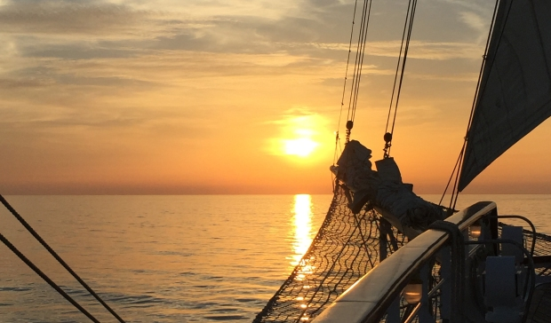 Sunset off the bow of Star Flyer crossing the Atlantic Ocean, November 2016.