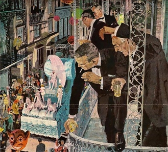 Bernie Fuchs' illustration of Mardi Gras in the French Quarter, 1960's.