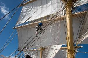 Climbing the mast on the Royal Clipper