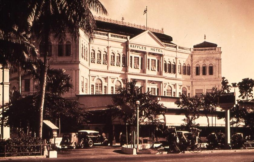 The Raffles Hotel in Singapore, circa 1921.