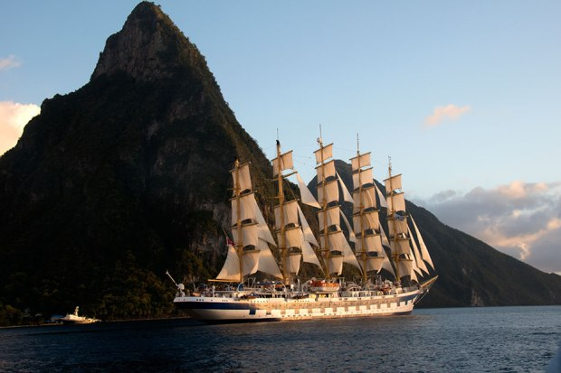 Royal Clipper sails past the Pitons of St. Lucia