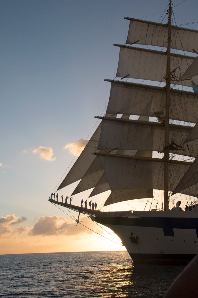 Sun sets on the Royal Clipper in St. Lucia.
