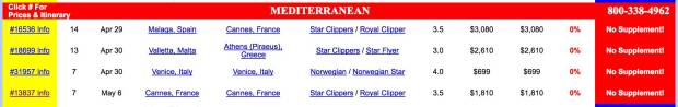 Screenshot from the Vacations to Go site, taken April 27, 2017, showing no single supplement cruises on Star Clipper's cruises.