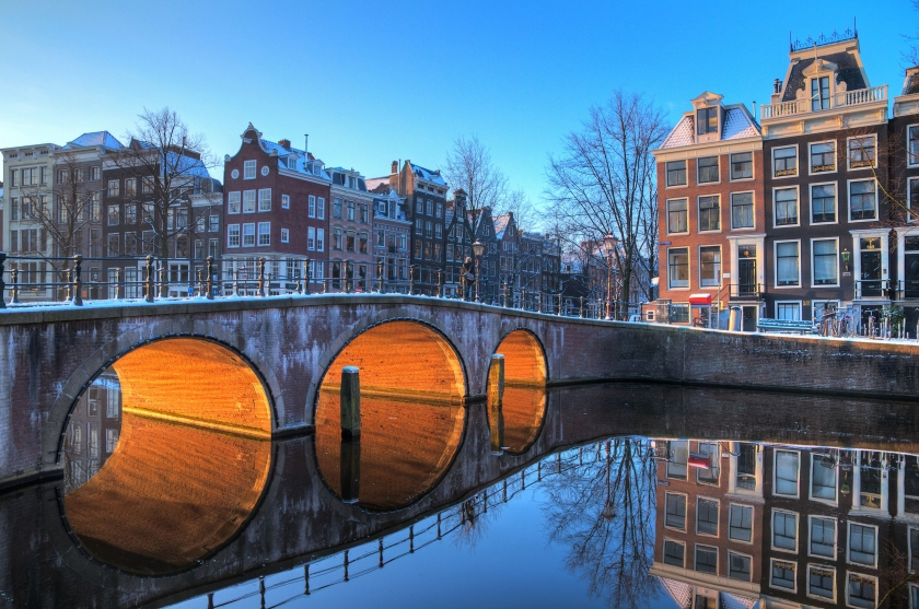 Amsterdam on a winter morning. Copyright: dennisvdwater, at 123RF Stock Photo.