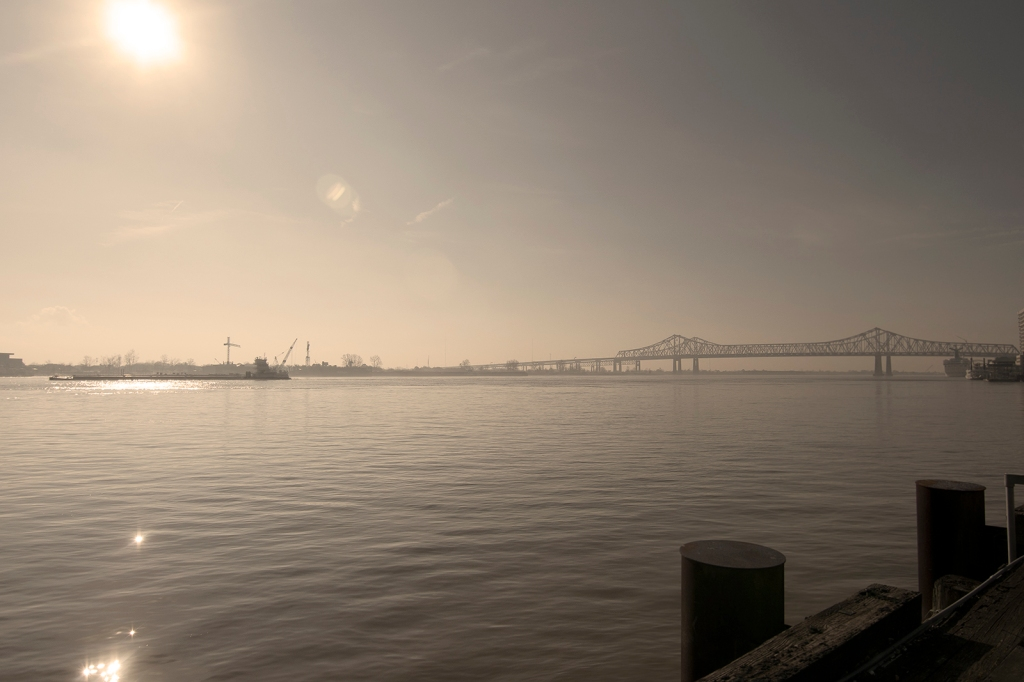 The Mississippi River at New Orleans, looking toward the GNO bridge. Photograph by Ann Fisher