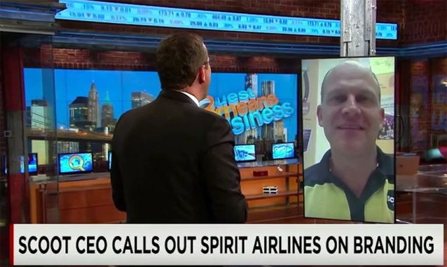 Scoot Airlines CEO calls out Spirit Airlines for copying their branding.