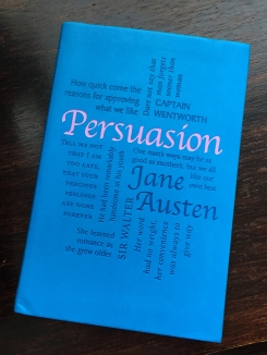 Edition of Jane Austen's Persuasion with quotes on the cover,