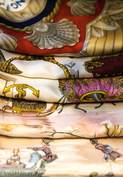 Hermes Scarves. Photograph, 123rf Stock Photos.