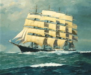 German ship, The Preussen, built in 1902. Painting by Roger Chapelet.