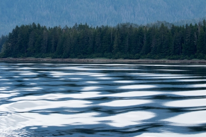 Beautiful morning water from the ferry Columbia as we headed into Sitka. Photograph, Ann Fisher.