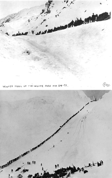 When the goldrush started, the two routes into the Klondike were White Pass, outside Skagway (top image) and Chilkoot Pass, outside Dyea.