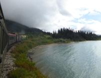 Rounding the lake near the White Pass summit.