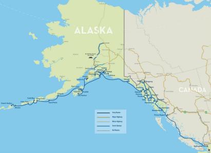 Alaska Ferry Route Map