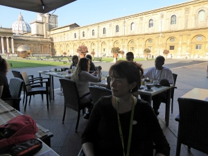 Breakfast in the Pinecone Courtyard at the Vatican.