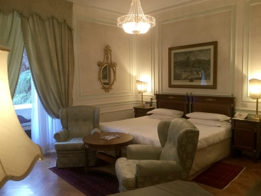 """Our """"executive double"""" room at the Hotel Quirinale in Rome. Photograph, Ann Fisher."""