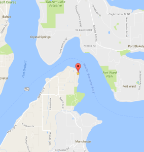Location of the cottage I stayed in on Puget Sound.