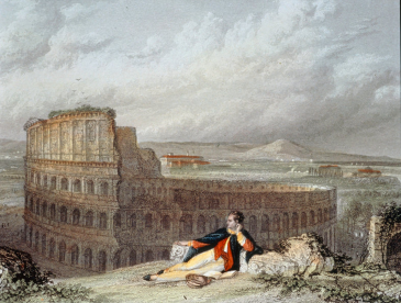Lord Byron contemplating the Colosseum in Rome. By engraver James Tibbitts Willmore or Arthur Willmore, after the original composition by William Westall.