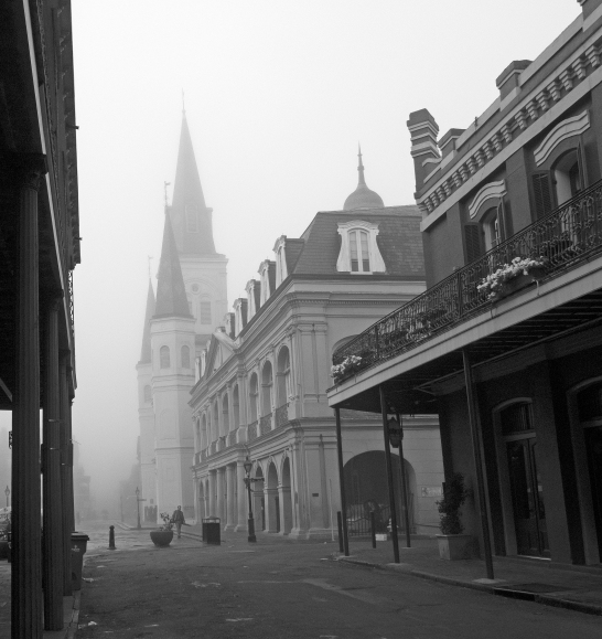 St. Louis Cathedral on a foggy morning. Photograph, Ann Fisher.