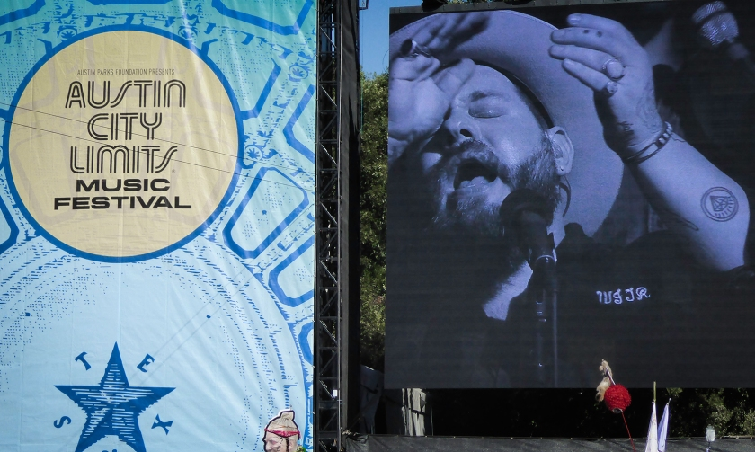 Nathaniel Rateliff and the Night Sweats performing at ACL on Sunday of Weekend 1. Photograph, Ann Fisher.