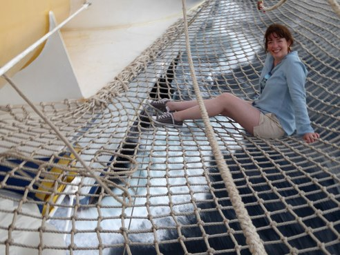 Ann Fisher on bowsprit net of the Royal Clipper