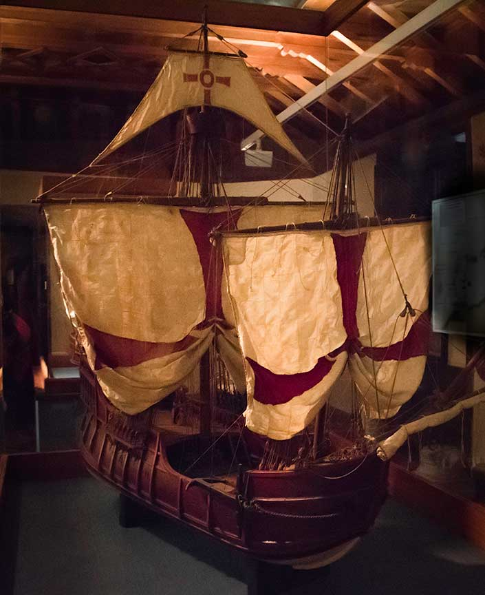 Model of the ship La Nina, Columbus House. Photograph