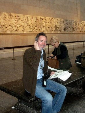 man using the audio guide: the British Museum My Way.