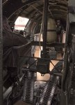 Looking back towards the waist gunner positions in the B-17.