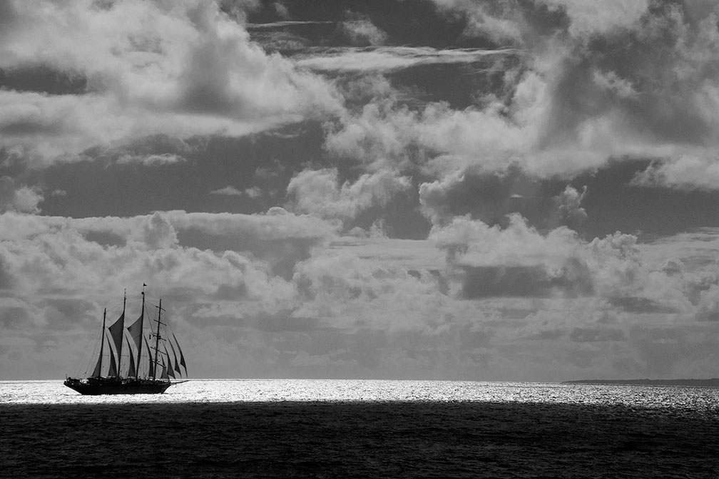 Star Clipper raises sail Black and white image