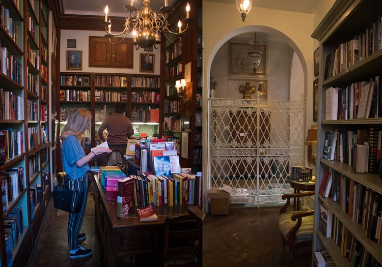 My daughter Catherine browsing a selection of books at Faulkner House.
