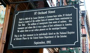 97 Orchard Street sign. The first tenement to be listed on the National Register of Historic Places.