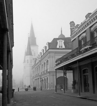 St. Louis Cathedral in early morning fog.