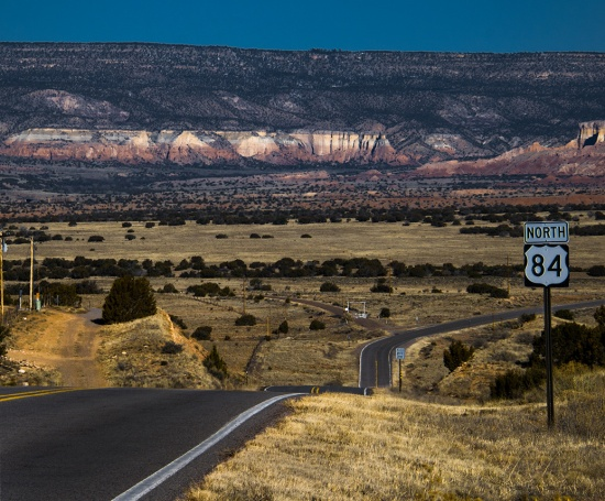 On Highway 84 in New Mexico, looking towards Ghost Ranch.