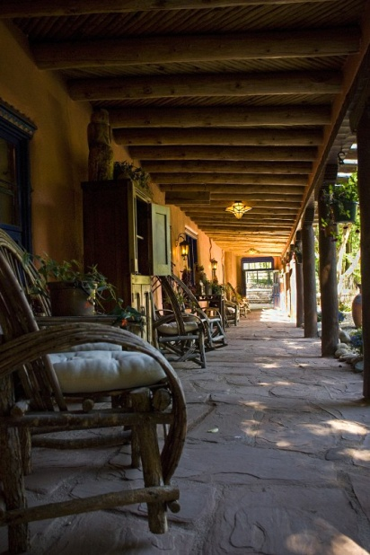 Verandah of the Adobe and Pines Inn in Taos New Mexico