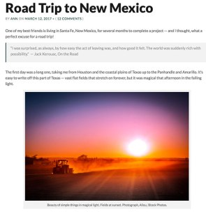Screenshot of post Road trip to New Mexico