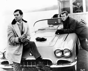 Martin Milner (right) and George Maharis, in the CBS TV show, Route 66.