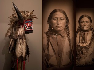 Display of Jicarillo Apache baskets and clothing at the Wheelwright Museum in Santa Fe. Photograph, Ann Fisher.