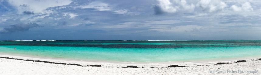 Panoramic image of the beach at Anegada.