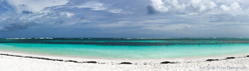 Panoramic image of the beach at Anegada.