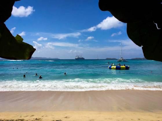 Windstar Wind Surf cruise ship anchored on Virgin Gorda. Windstar Windsurf in the Caribbean.
