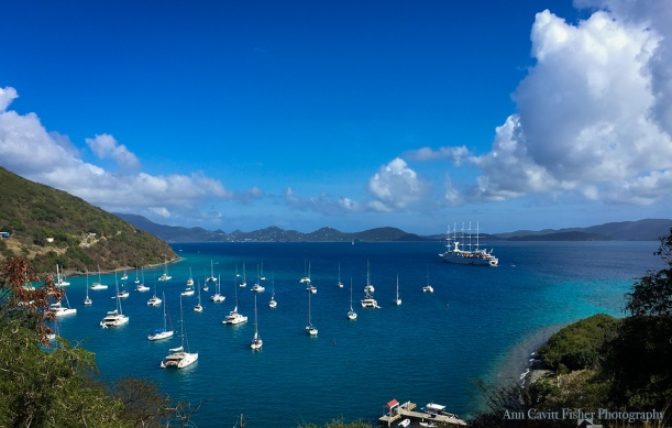 Wind Surf yacht in Great Harbour on Jost Van Dyke. Windstar Windsurf sailing ship.