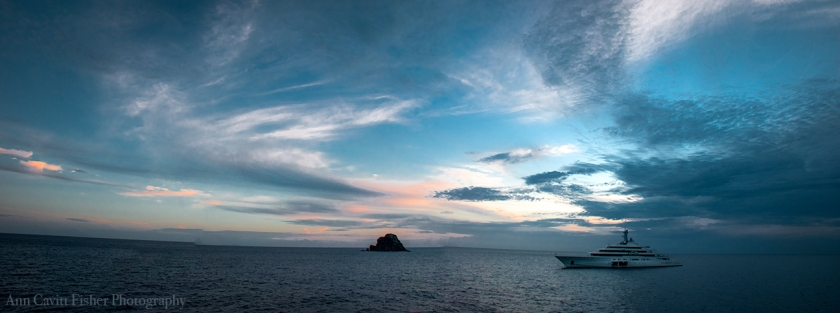 Another day, another sunset from the stern of Wind Surf, this time moored off St. Barth's.
