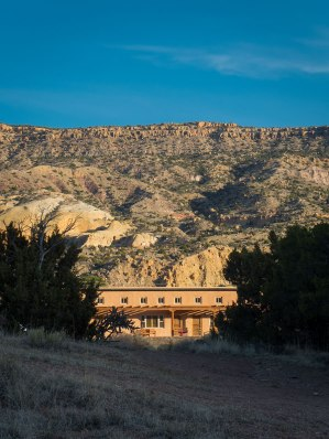 View of the Coyote building on upper mesa, Ghost Ranch.