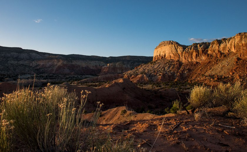 View toward Kitchen Mesa from the Matrimonial Mesa hike at sunset, Ghost Ranch New Mexico