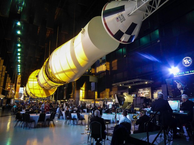 Huntsville, Alabama, really went all out for the travel bloggers at the TBEX conference in May 2017. Swing orchestra, drinks, and dinner under the Apollo rocket at the Davidson Rocket Center. Photograph, Ann Fisher.