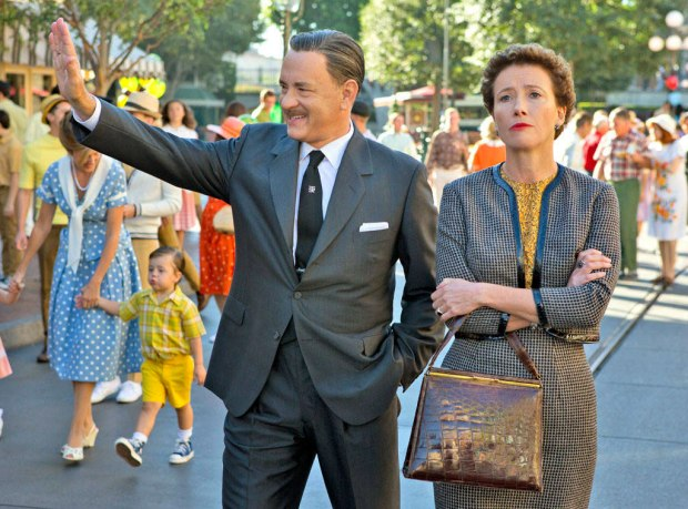 Walt Disney (Tom Hanks) gives Mary Poppin's writer Mrs. Travers (Emma Thompson) a personal tour of Disneyland.
