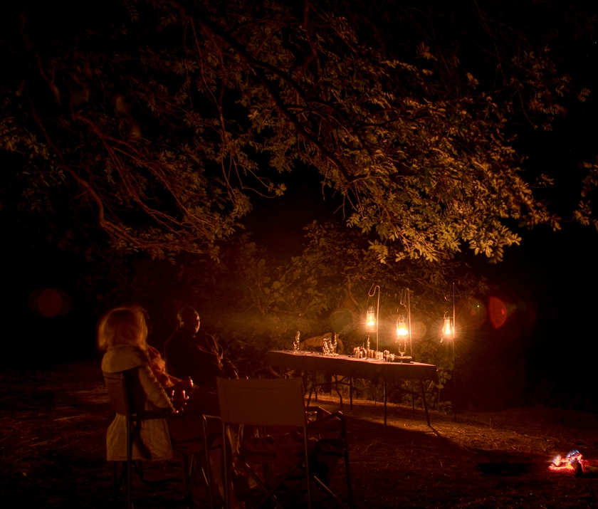 Dinner in Luangwa Bush Camp
